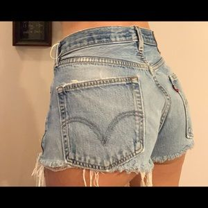 Vintage Levi 501 XX high rise cut off shorts.